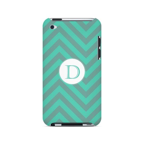 Seafoam Green D on Zig Zags - Geeks Designer Line Monogram Series Hard Case for Apple iPod Touch 4