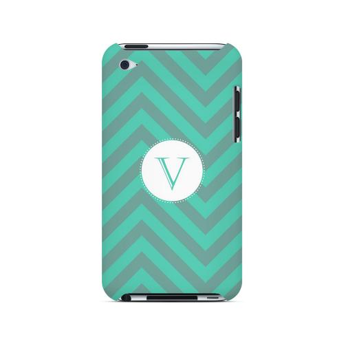 Seafoam Green V on Zig Zags - Geeks Designer Line Monogram Series Hard Case for Apple iPod Touch 4