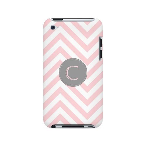 Gray Button C on Pale Pink Zig Zags - Geeks Designer Line Monogram Series Hard Case for Apple iPod Touch 4