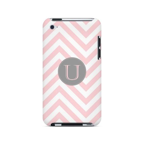Gray Button U on Pale Pink Zig Zags - Geeks Designer Line Monogram Series Hard Case for Apple iPod Touch 4