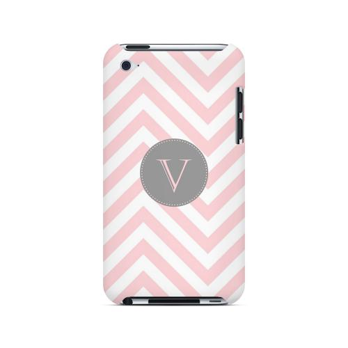 Gray Button V on Pale Pink Zig Zags - Geeks Designer Line Monogram Series Hard Case for Apple iPod Touch 4