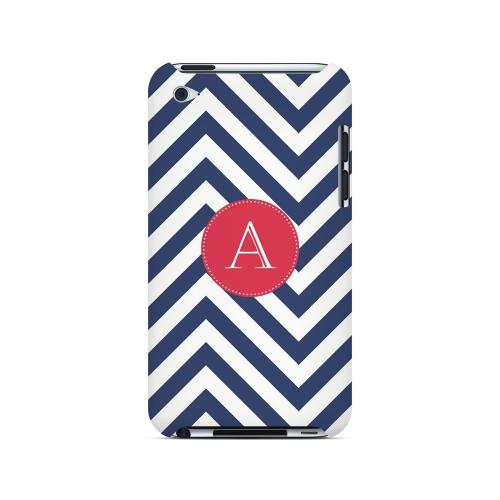 Cherry Button A on Navy Blue Zig Zags - Geeks Designer Line Monogram Series Hard Case for Apple iPod Touch 4