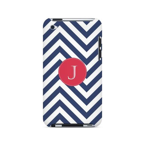 Cherry Button J on Navy Blue Zig Zags - Geeks Designer Line Monogram Series Hard Case for Apple iPod Touch 4