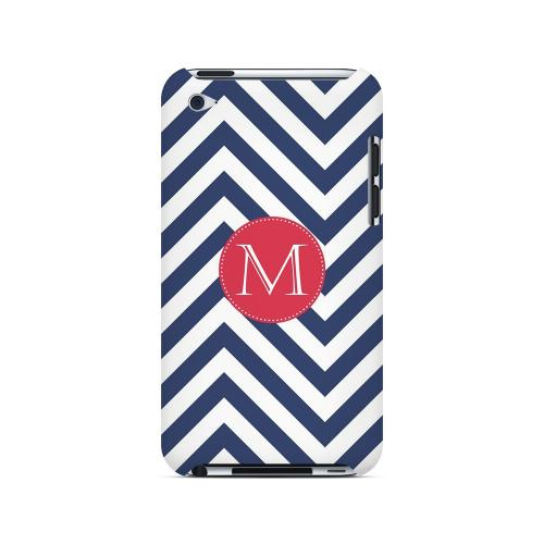 Cherry Button M on Navy Blue Zig Zags - Geeks Designer Line Monogram Series Hard Case for Apple iPod Touch 4