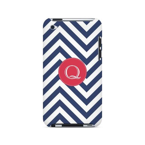 Cherry Button Q on Navy Blue Zig Zags - Geeks Designer Line Monogram Series Hard Case for Apple iPod Touch 4