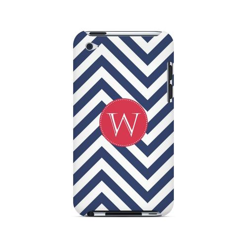 Cherry Button W on Navy Blue Zig Zags - Geeks Designer Line Monogram Series Hard Case for Apple iPod Touch 4