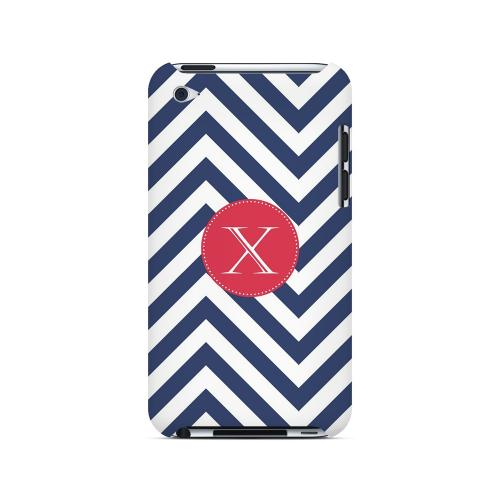 Cherry Button X on Navy Blue Zig Zags - Geeks Designer Line Monogram Series Hard Case for Apple iPod Touch 4
