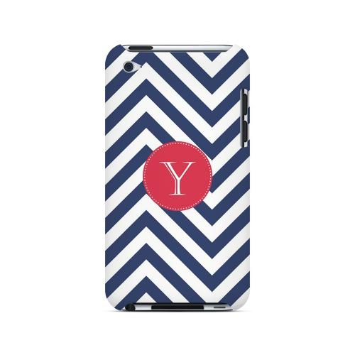 Cherry Button Y on Navy Blue Zig Zags - Geeks Designer Line Monogram Series Hard Case for Apple iPod Touch 4