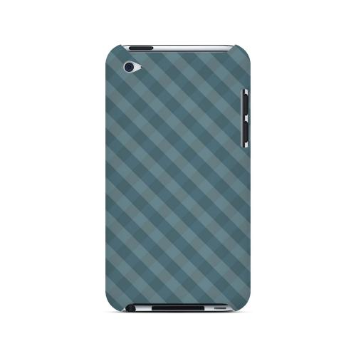 Blue/ Green/ White/ Gray Plaid - Geeks Designer Line Checker Series Hard Case for Apple iPod Touch 4