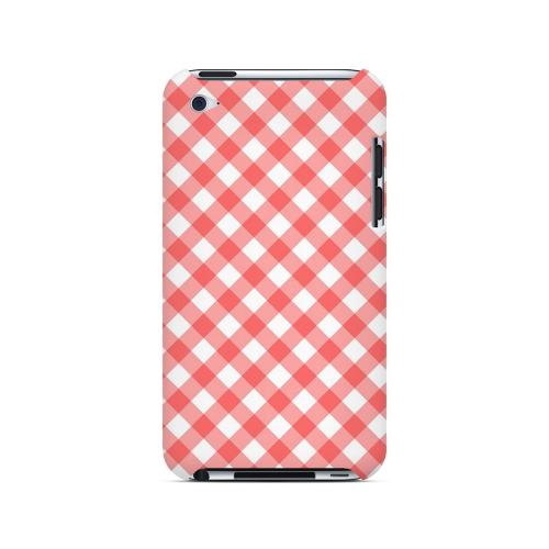 Light Red Plaid - Geeks Designer Line Checker Series Hard Case for Apple iPod Touch 4