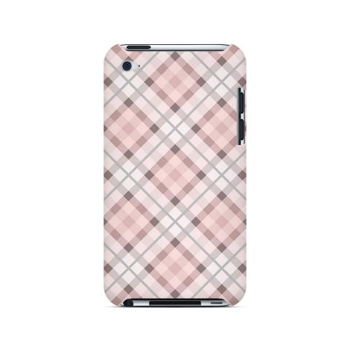 Pink/ Gray Plaid - Geeks Designer Line Checker Series Hard Case for Apple iPod Touch 4