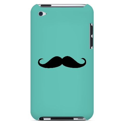 Mustache Teal - Geeks Designer Line Humor Series Hard Case for Apple iPod Touch 4