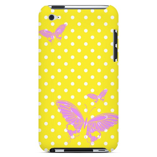 Pink Butterfly on White Polka Dots - Geeks Designer Line Spring Series Hard Case for Apple iPod Touch 4