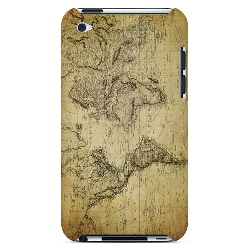 Vintage World Map Circa 1800's - Geeks Designer Line Map Series Hard Case for Apple iPod Touch 4
