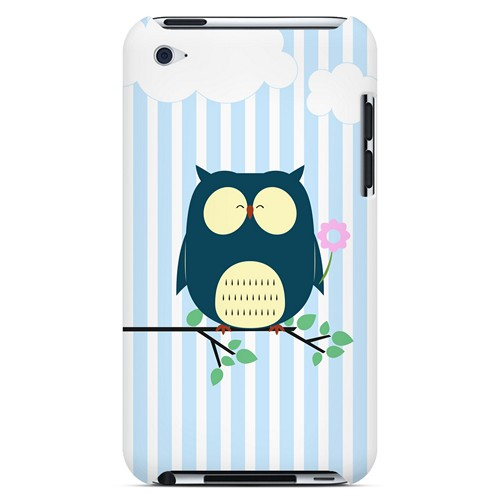 Fat Peaceful Owl on Tree Branch - Geeks Designer Line Owl Series Hard Case for Apple iPod Touch 4