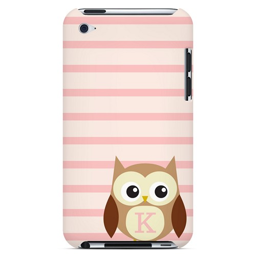Brown Owl Monogram K on Pink Stripes - Geeks Designer Line Owl Series Hard Case for Apple iPod Touch 4