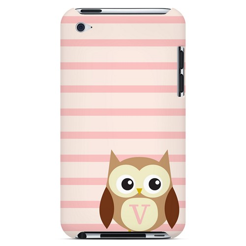 Brown Owl Monogram V on Pink Stripes - Geeks Designer Line Owl Series Hard Case for Apple iPod Touch 4