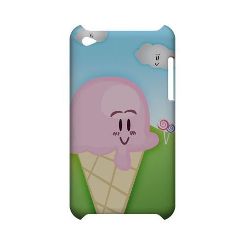 Cute Pink Ice Cream Cone Geeks Designer Line Candy Series Slim Hard Back Cover for Apple iPod Touch 4