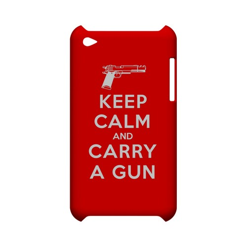 Red Carry A Gun Geeks Designer Line Keep Calm Series Slim Hard Case for Apple iPod Touch 4