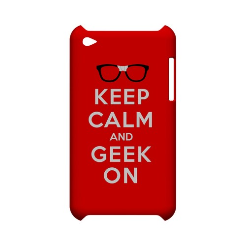 Red Geek On Geeks Designer Line Keep Calm Series Slim Hard Case for Apple iPod Touch 4