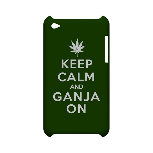 Green Ganja On Geeks Designer Line Keep Calm Series Slim Hard Case for Apple iPod Touch 4