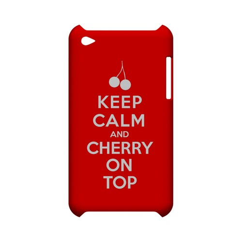 Red Cherry On Top Geeks Designer Line Keep Calm Series Slim Hard Case for Apple iPod Touch 4