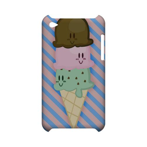 Triple Scoop Ice Cream Cone Geeks Designer Line Candy Series Slim Hard Back Cover for Apple iPod Touch 4