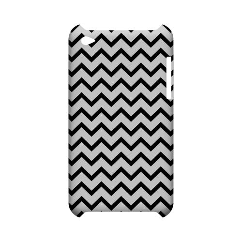 Black on White Geeks Designer Line Zig Zag Series Slim Hard Case for Apple iPod Touch 4