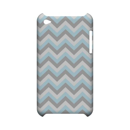 Blue on Gray on White Geeks Designer Line Zig Zag Series Slim Hard Case for Apple iPod Touch 4