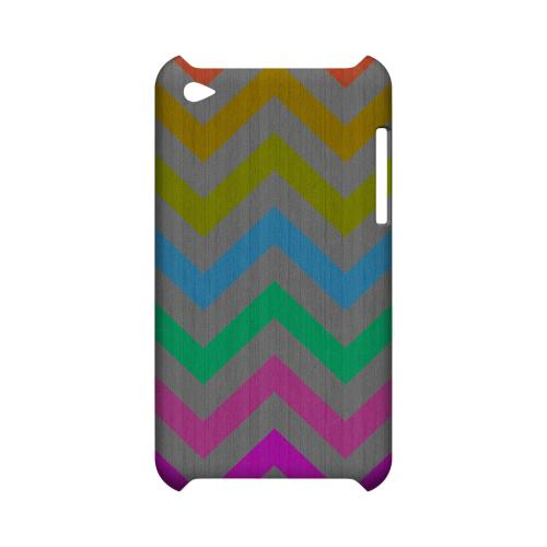 Grungy Multi-Colors on Gray Geeks Designer Line Zig Zag Series Slim Hard Case for Apple iPod Touch 4