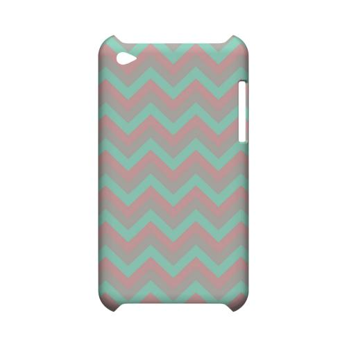 Green on Pink on Gray Geeks Designer Line Zig Zag Series Slim Hard Case for Apple iPod Touch 4