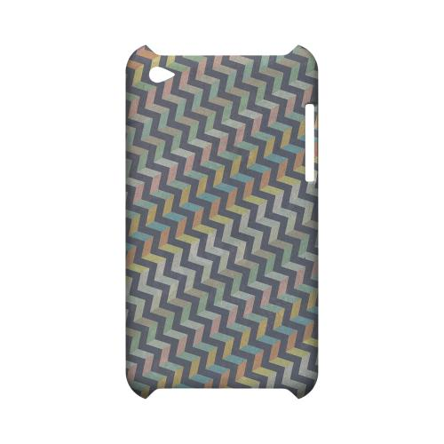 Grungy Pastel Steps Geeks Designer Line Zig Zag Series Slim Hard Case for Apple iPod Touch 4
