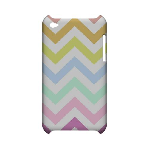 Pastel on White Geeks Designer Line Zig Zag Series Slim Hard Case for Apple iPod Touch 4