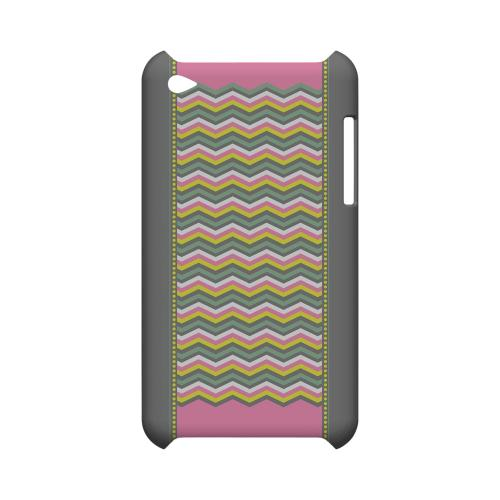 Green/ Yellow Dots w/ Pink & Gray Geeks Designer Line Zig Zag Series Slim Hard Case for Apple iPod Touch 4