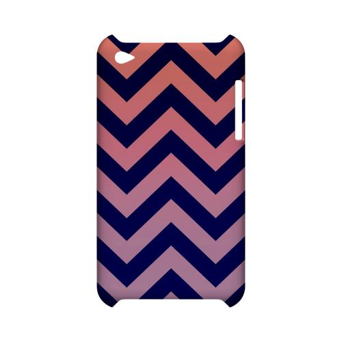 Pink/ Navy Blue Gradient Geeks Designer Line Zig Zag Series Slim Hard Case for Apple iPod Touch 4