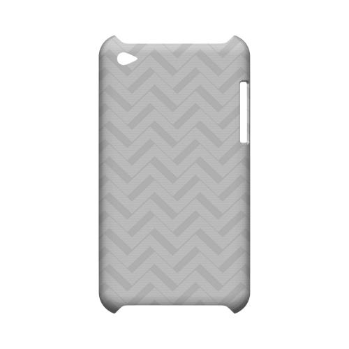 Light Gray/ White 3D Geeks Designer Line Zig Zag Series Slim Hard Case for Apple iPod Touch 4