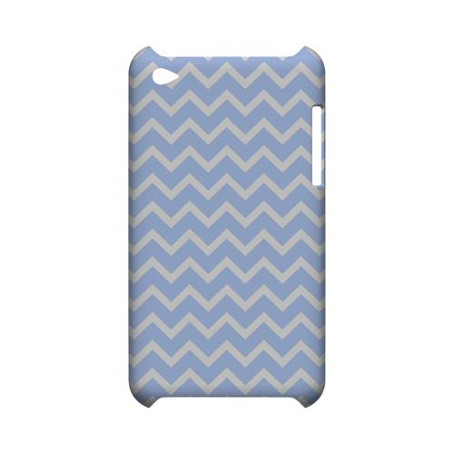 White on Light Blue Geeks Designer Line Zig Zag Series Slim Hard Case for Apple iPod Touch 4