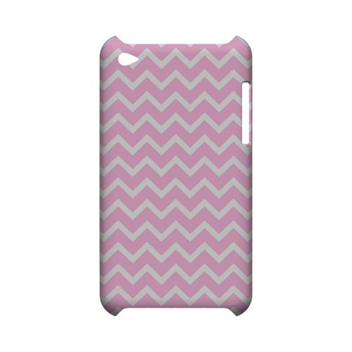White on Pink Geeks Designer Line Zig Zag Series Slim Hard Case for Apple iPod Touch 4