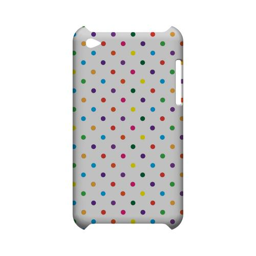 Small & Rainbow on White Geeks Designer Line Polka Dot Series Slim Hard Case for Apple iPod Touch 4
