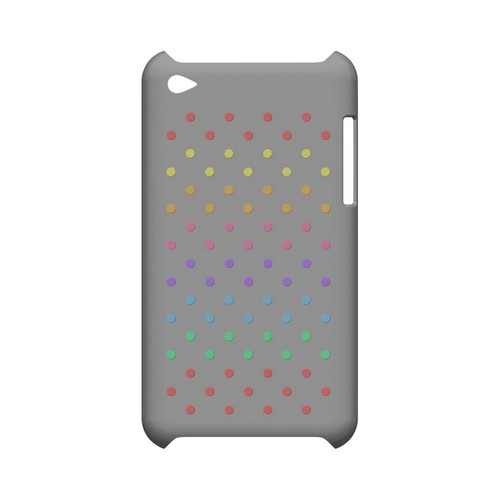 Rainbow Dots on Gray Geeks Designer Line Polka Dot Series Slim Hard Case for Apple iPod Touch 4