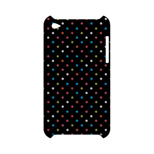 Retro Rainbow Dots on Black Geeks Designer Line Polka Dot Series Slim Hard Case for Apple iPod Touch 4