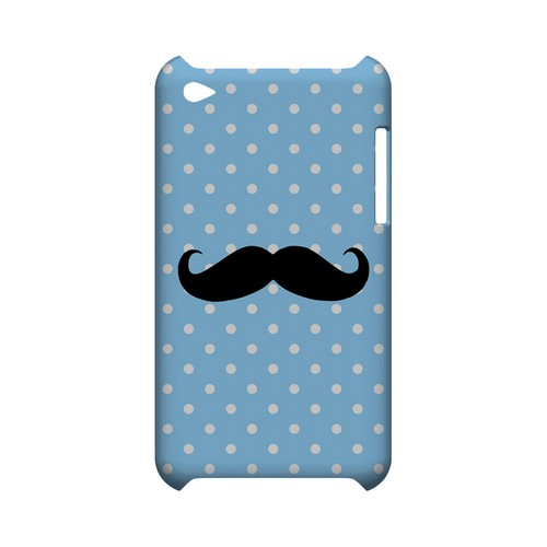 Stache on Sky Blue Geeks Designer Line Polka Dot Series Slim Hard Case for Apple iPod Touch 4
