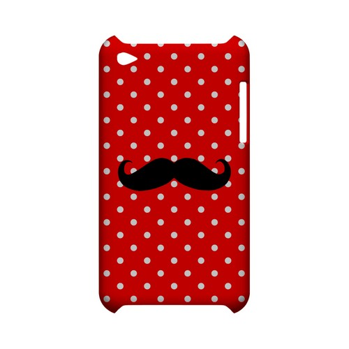 Stache on Red Geeks Designer Line Polka Dot Series Slim Hard Case for Apple iPod Touch 4