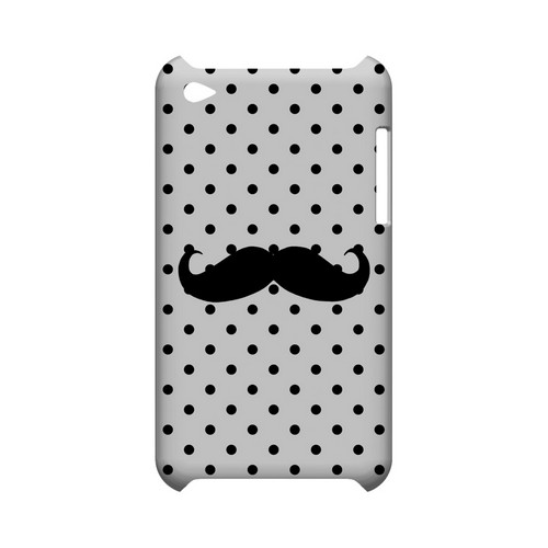 Stache on White Geeks Designer Line Polka Dot Series Slim Hard Case for Apple iPod Touch 4