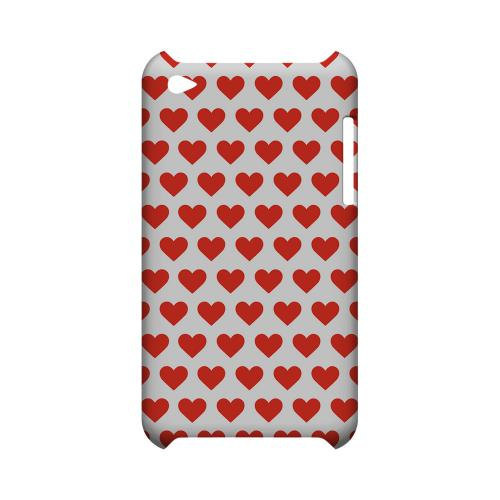 Red Hearts on White Geeks Designer Line Heart Series Slim Hard Case for Apple iPod Touch 4