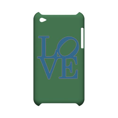 Blue Love on Green Geeks Designer Line Heart Series Slim Hard Case for Apple iPod Touch 4