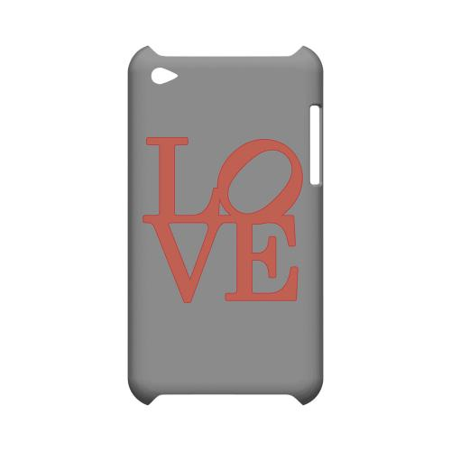 Pink Love on Gray Geeks Designer Line Heart Series Slim Hard Case for Apple iPod Touch 4