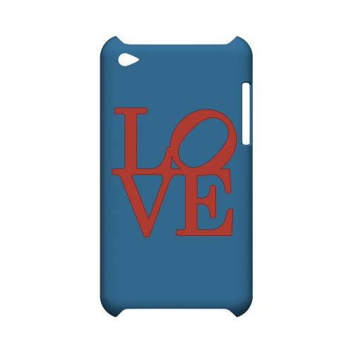 Red Love on Blue Geeks Designer Line Heart Series Slim Hard Case for Apple iPod Touch 4