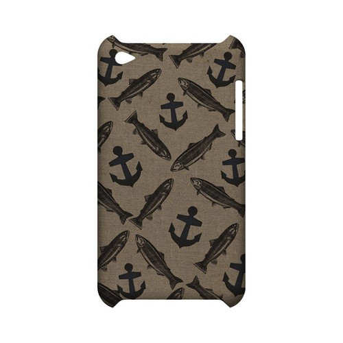 Vintage Salmon/Trout/Anchor Design - Geeks Designer Line (GDL) Fish Series Hard Back Cover for Apple iPod Touch 4
