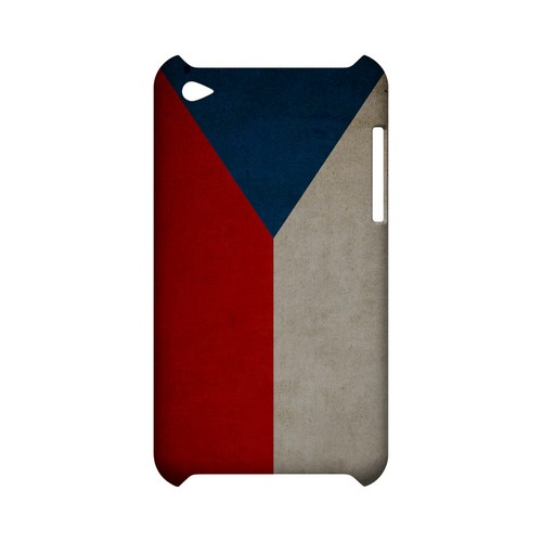 Grunge Czech Republic Geeks Designer Line Flag Series Slim Hard Case for Apple iPod Touch 4